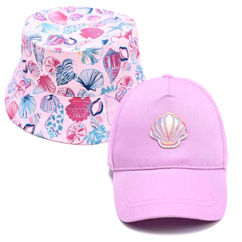 accsa Toddler Kid Girl Trucker Baseball Cap and Bucket Brim Hat Set UPF Sun Protection Lilac 2 Pack Age 6-9