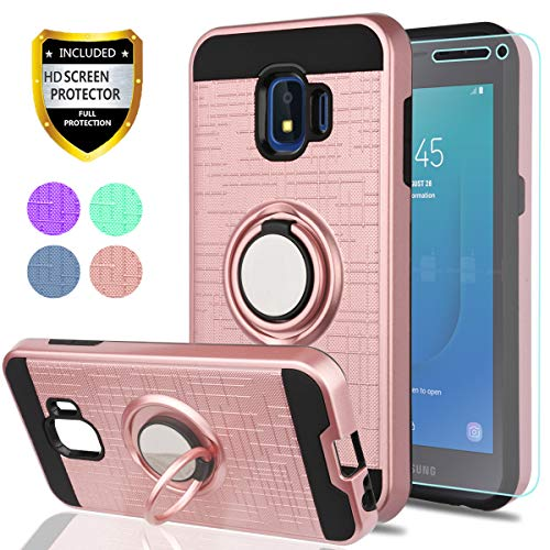 Samsung Galaxy J2 Core Case with HD Phone Screen Protector,YmhxcY 360 Degree Rotating Ring & Bracket Dual Layer Resistant Back Cover for Samsung Galaxy J2 Core 2018 (5.0