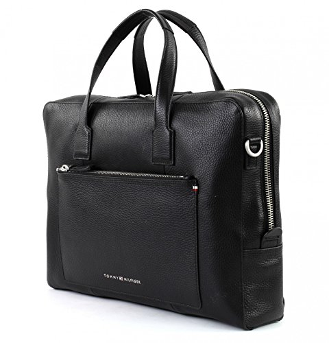TOMMY HILFIGER Soft Leather Computer Bag Black