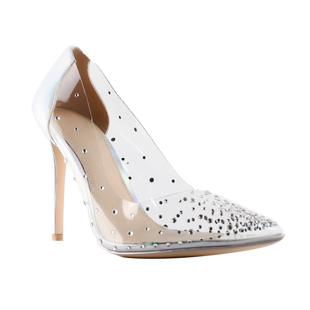 FONEX Clear Heels for Women Stilettos Pointed Toe Prom Shoes High Heels for Teens Transparent Dress Pumps B07FPNSBFG 8 M US|Silver Blue