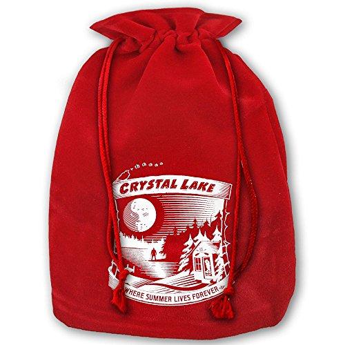 (Camp Crystal Lake Where Summer Lives Forever Christmas Gold Velvet Drawstring Elastic Gift Bags 35