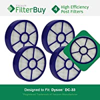 4 - FilterBuy Dyson DC33 (DC-33) Post Motor Compatible HEPA Filters, Part # 921616-01. Designed by FilterBuy to fit Dyson DC33 Multi Floor Upright Vacuum Cleaner.