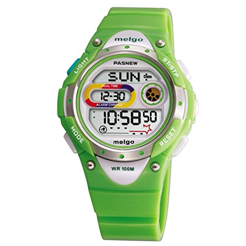 Sports Watch 100m (Jewtme LED Waterproof 100m Sports Digital Watch for Children Girls Boys with Three Alarms (Green2))
