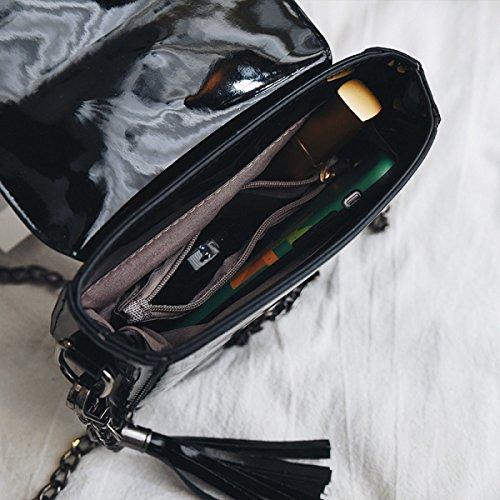 FZHLY Lackleder Kleine Quadratische Tasche Damenmode Niet Einzel-Schulter-Minibeutel