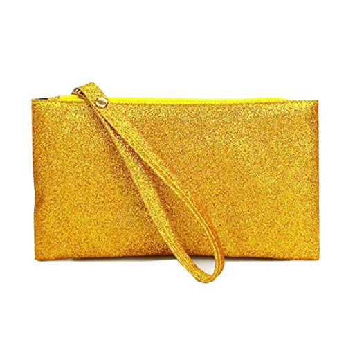 VWH Men Women Wallets PU Bag Zipper Small Mini Clutch Phone Wristlet Party Handbag(Gold) by VWH (Image #2)