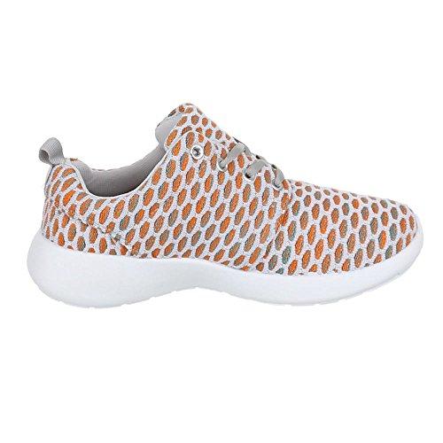 Ital-Design - Zapatillas de tela para mujer Gris - Grau Orange
