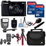 Canon Powershot G9 X (Black) HS Point and Shoot Digital Camera, W/ Case + 64GB Memory + Flash + Tripod + Case + Cleaning Kit + More – International Model
