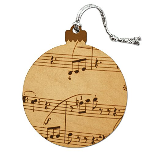 Vintage Sheet Music Notes Musical Score Musician Wood Christmas Tree Holiday Ornament (Ornament Musical Note)