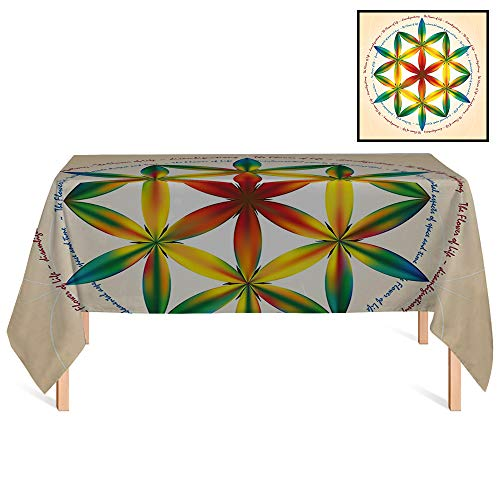 SATVSHOP Oblong Tablecloths /55x86 Rectangular,Sacred Geometrty Symbol of Fundamental Aspect of Space and Time Esoteric New Spiral for Wedding/Banquet/Restaurant.
