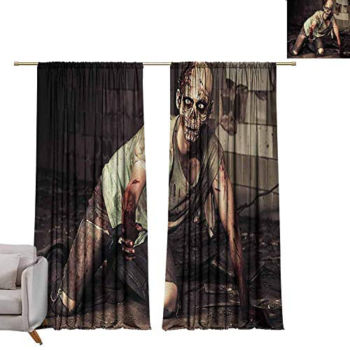 berrly Energy Saving Curtains Zombie,Halloween Scary Dead Man in The Old Building with Bloody Head Nightmare Theme,Grey Mint Peach W84 x L108 Thermal Insulated -