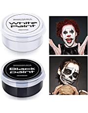 Blank in Dark 2Pc Black White Oil Face Body Paint Set,Mini Glow in The Dark Face Paint Professional Watercolor Paint for Art Theater Halloween Party Cosplay Clown Special Effects SFX Makeup for Adults
