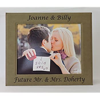 engagement photo frame personalized custom picture frame 7x5 landscape - Engagement Photo Frame