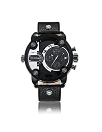 Sheli All Gunmetal Designer Multi-Functional Perpetual Big Police Sports Leather Strap Watch for Men,52mm