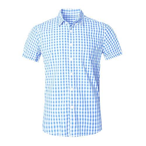AVANZADA Men's Casual Plaid Short Sleeve Button Down (Madras Plain Front Short)