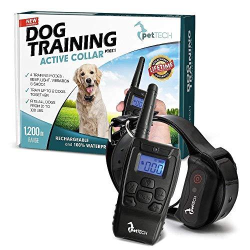 PetTech PT0Z1 Premium Dog Training Shock Collar, Fully Waterproof, 1200ft Range (Black:nbsp;) - Collar Remote Bark