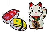 PP Patch Set Cute Pretty Sushi Japanese Food Cute Maneki-Neko Japan Japanese Lucky Cat DIY Embroidered Sew Iron on Patch Cartoon Logo Jackets Bags Jeans T-Shirt Backpacks