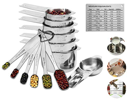 (Measuring Cups and Measuring Spoons Set Stainless Steel Measuring Cups and Spoons Set of 13. Liquid Measuring Cup or Dry Measuring Cup Set. Stainless Measuring Cups)