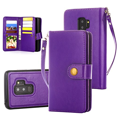 Galaxy S9 Plus Case, 10 Card Slot - ID Slot, Button Wallet Folio PU Leather Case Cover with Detachable Magnetic Hard Case for Samsung Galaxy S9 Plus (2018 Release) - Purple