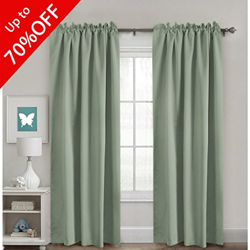Full Blackout Room Darkening Curtains Window Panel Drapes, Back Tab/Rod Pocket Top Thermal Insulated Curtains, 2 Panels, 52 x 84 Inch, Sage (Top Curtain Tab)