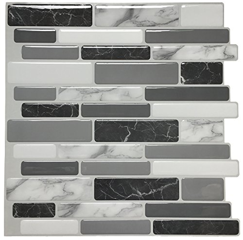 "Peel and Stick Wall Tile for Kitchen Backsplash, 12""x12"", (10 Tiles)"