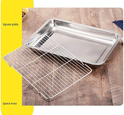 Larew Nonstick Baking Pans Stainless Steel Baking Sheet 15.74x11.8x1.88 Inch Bakeware Toaster Cookie Pan Jelly Roll Pan with Rack