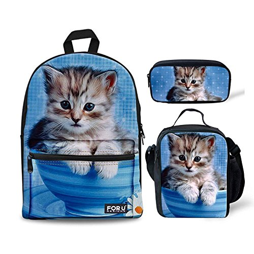 Pack Cup Case (HUGS Teacup Cat Print Cute Children School Backpack Set Bookbag with Lunch Bags Pencil Case)