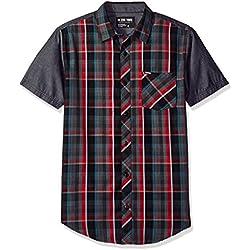 Zoo York Men's Short Sleeve Button Down Woven, Grain Machine Red, Medium