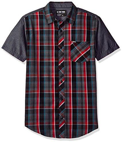 Zoo York Men's Short Sleeve Button Down Woven, Grain Machine Red, Large
