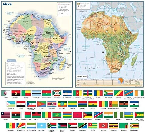 Africa Political Physical Continent Map With Country Flags 17 X 15 5 Paper Amazon Co Uk Office Products