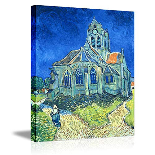Church Oil Paintings - Giclee Canvas Prints Wall Art by Van Gogh -The Church at Auvers Blue House Printed Famous Oil Painting Reproduction Stretched Framed Elegant Wall Picture for Home Office Decor Picabala-16×12