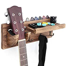 Bikoney Guitar Holder Wall Mount Bracket Guitar Wall Hanger Wood Hanging Rack with Pick Holder and 3 Hook Carbonized…