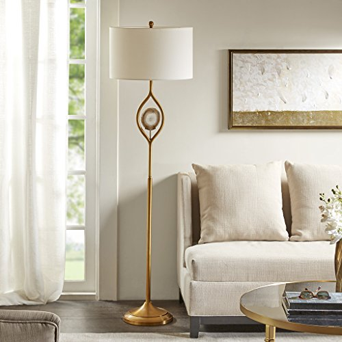 (Madison Park MP154-0128 Carla Floor Lamp - Modern Luxe Accent Furniture Décor Lighting for Living Room Metal Post Silver with Natural Agate Stone Uplight, White Round Shades, 63
