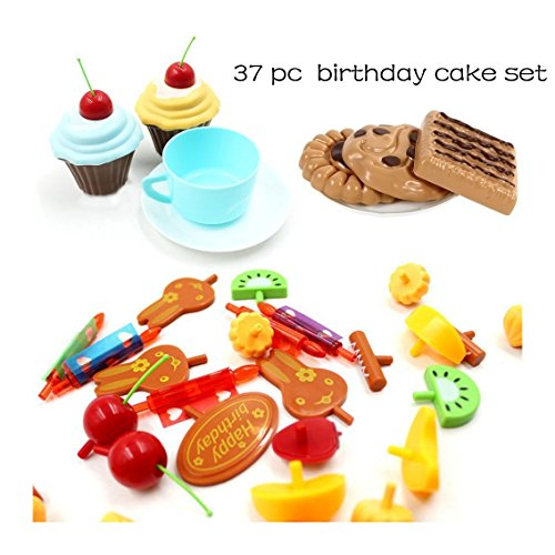 Cheap Kids Pretend Play Toys Birthday Cake Childrens Day Gift Food Toy Set DIY COSPLAY