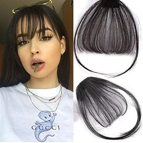 Stamped Glorious Clip in Bangs Hair Extensions Human Hair Bangs Clip in Fringe Bangs Human Hair Flat Air Bangs with Temple for Women One piece Hairpiece (Color: Natural Black)
