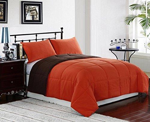 (Cozy Beddings, Orange/Brown 2-Piece Reversible Down Alternative Comforter Set | Twin Size Bed Cover)