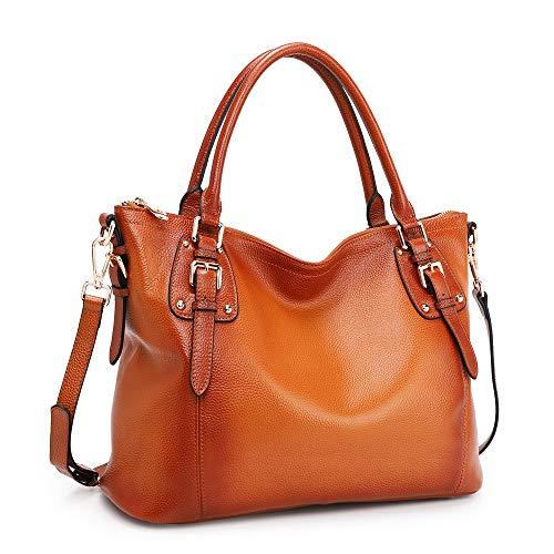 Kattee Women's Genuine Leather Handbags Shoulder Tote Organizer Top Handles Crossbody Bag Satchel Designer Purse 1