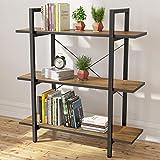 Homemaxs Bookshelf Bookcase, Small Modern Industrial Rustic Wood & Metal Open 3 Tier Book Shelves for Bedroom, Living Room, Study, Office