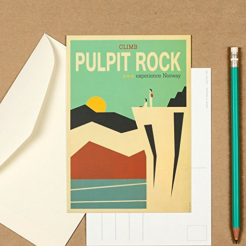 (Art postcard, travel picture, Pulpit Rock, Scandinavia, Norway, housewarming decor, travel art print, collectible postcard, retro wall decor)