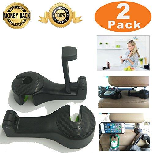 Car Headrest Hooks Universal with Phone Bracket for Bag Purse Cloth Grocery - Set of 2 (Black)