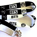 K-POP BTS Bangtan Boys Korean Boy Band Black & White Lanyard 2PCS Set