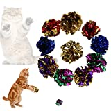 Whitelotous 12pcs Colorful Cat Toy Mylar Crikle Balls Plastic Ring Sound Paper Kitten Play Toy Balls