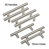 Gobrico Brushed Satin Nickel Cabinet Hardware Euro Style Bar Handle Pull For Furniture Cupboard Drawer- 50 Pack (Center to Center:76mm/3in , Length 5in))