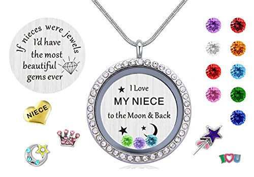 Gifts for Nieces Aunt, Women Girl's Floating Living Memory Locket Necklace Pendant with Charm Birthstone