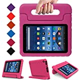 "MENZO Case for All-New Fire 7 inch 2017 - Kids Shock Proof Convertible Handle Light Weight Super Protective Stand Cover for All-New Fire Tablet(7"" Display - 2017 Release Only), Rose"