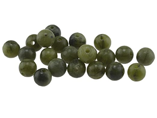 Jadeperlen echte Jade in türkis 6 mm 10 Stück von Vintageparts DIY-Schmuck