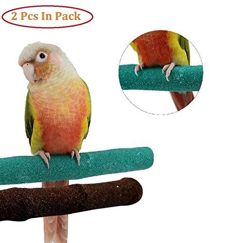 Mrli Pet Pack of 2 Bird Perch, Natural Branches Quartz Sand Parrot Perch Stand for Small Medium Birds Cockatiel Cockatiel Parakeet Conure Cage ()