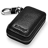cover bag holder - Buffway Car key case,Genuine Leather Car Smart Key Chain Keychain Holder Metal Hook and Keyring Zipper Bag for Remote Key Fob - Black
