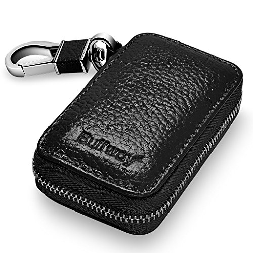 Buffway Car Key case,Genuine Leather Car Smart Key Chain Keychain Holder Metal Hook and Keyring Zipper Bag for Remote Key Fob - Black (Auto Leather Key Ring)