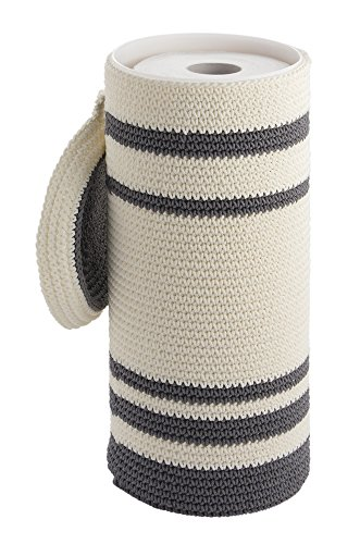 mDesign Knitted Free Standing Toilet Paper Roll Holder for B