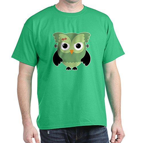 Truly Teague Dark T-Shirt Spooky Little Owl Frankenstein Monster - Kelly Green, Small -